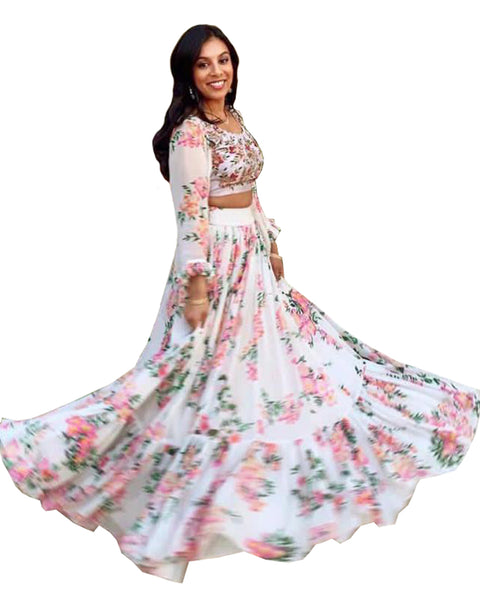 White Color Pinted Designer Lehenga