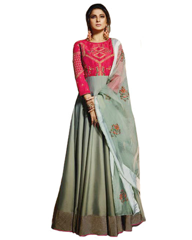 Grey And Pink Pure Silk Embroidered Party Wedding Wear Floor Length Anarkali Dress