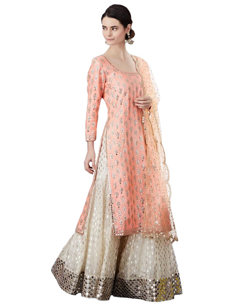 Peach & Off-White Color Mirror Work Palazzo Suit