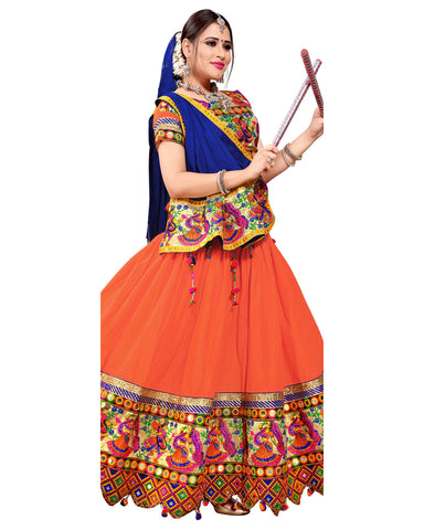 Navratri Special Designer Orange And Blue Chaniya Choli