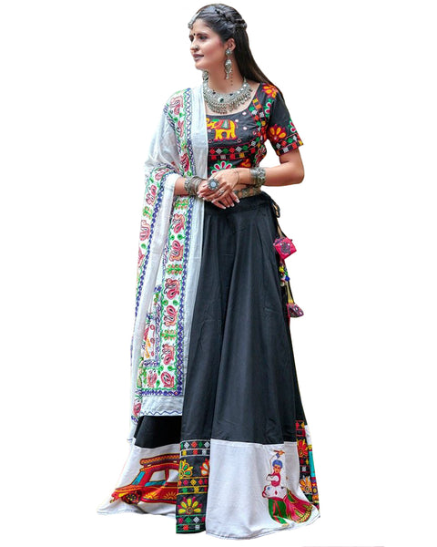 Navratri Special Designer Black And White Digital Print Chaniya Choli