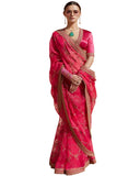 Desirable Pink Colored Designer Embroidered Work Party Wear Tissue Saree
