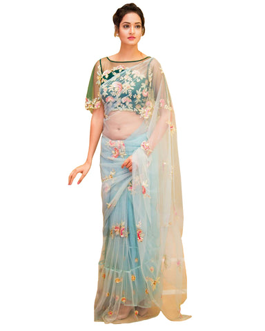 Desirable Sky Colored Designer Embroidered Work Party Wear Net Saree