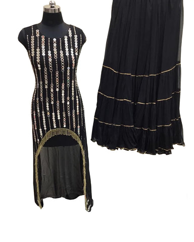Black Color Georgette Mirror Work C-Cut Palazzo Suit