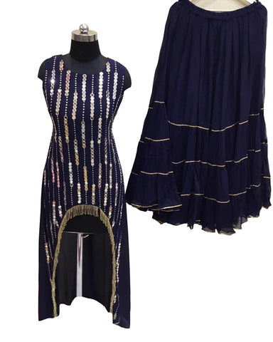 Navy Blue Color Georgette Mirror Work C-Cut Palazoo Suit