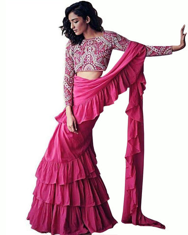 Pink Colour With Freel Saree