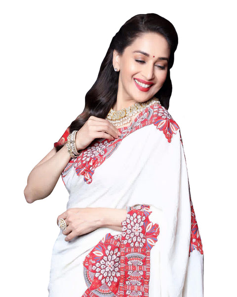 Madhuri Dixit White Chanderi Silk Saree