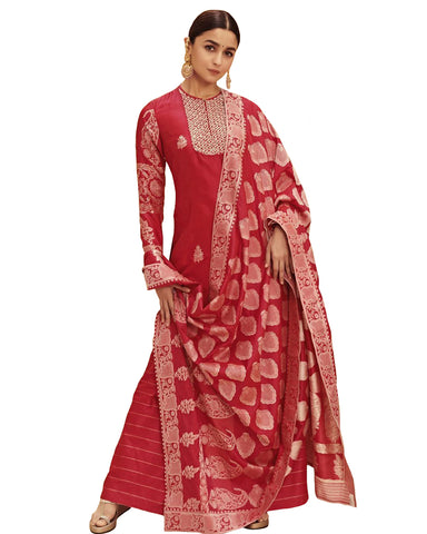 Bollywood Red Color Alia Bhatt Palazzo Suit