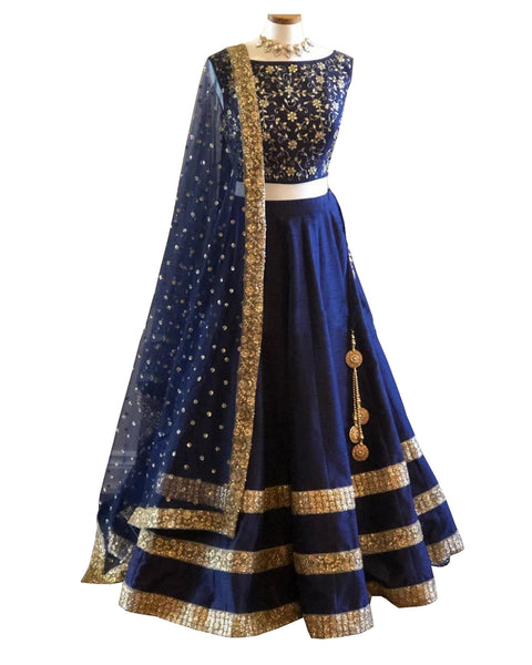 Dark Blue Color Wedding Lehenga
