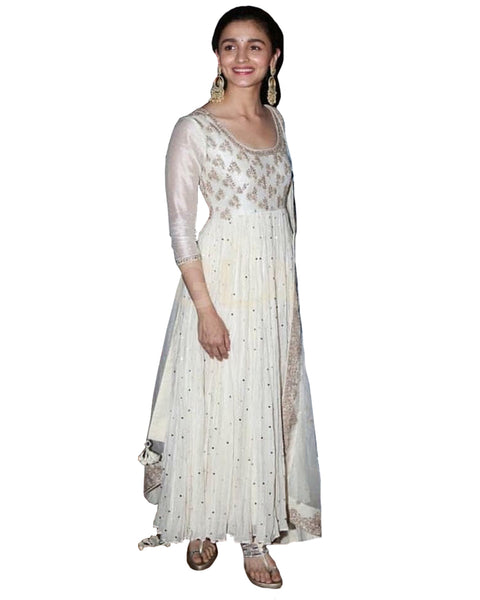Bollywood White Color Alia Bhatt Long Suit