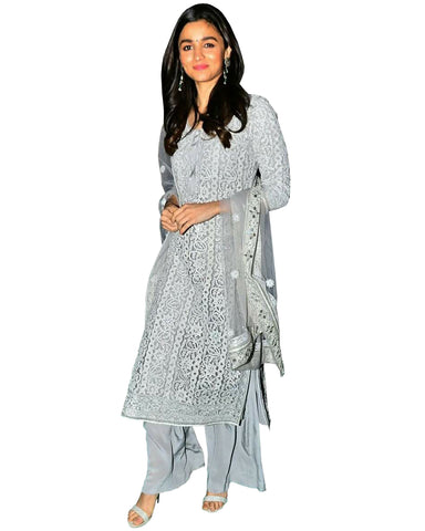 Bollywood Grey Color Alia Bhatt Palazzo Suit