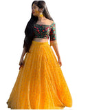 Yellow And Dark Green Color Wedding Lehenga