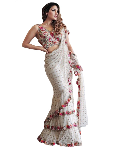 White Colour With Multi Color Embroidery Ruffle Saree
