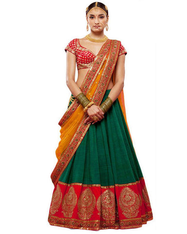 Red Green Bangalore Silk Circular Lehenga