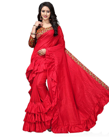 Red Colour With Ruffle Tafetta Silk Saree