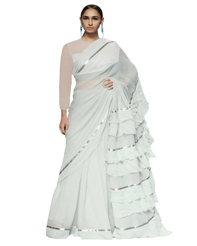 White Colour With Ruffle Flux Geogrette Saree