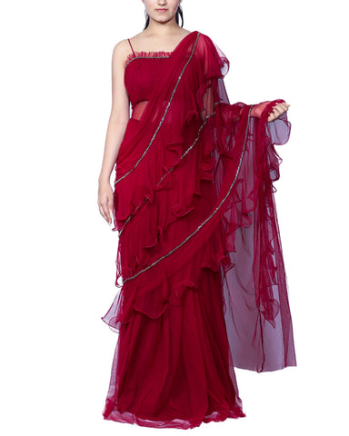 Maroon Colour With Ruffle Net Saree