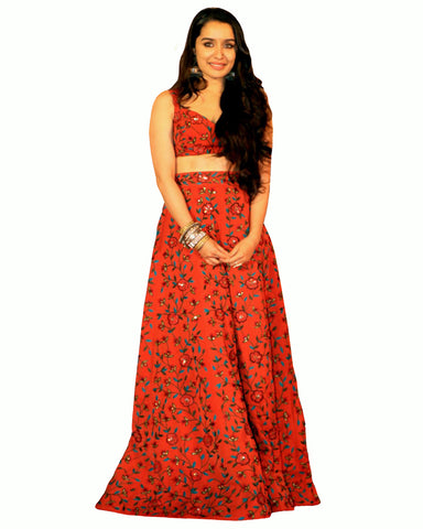 Shraddha Kapoor Bollywood Orange Color Lehenga