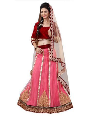Peach And Maroon Colored Embroidered Work Party Wear Lehenga