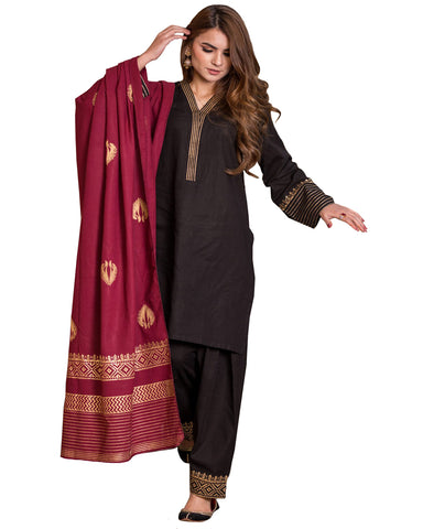 Black And Magenta Color Printed Salwar Kameez
