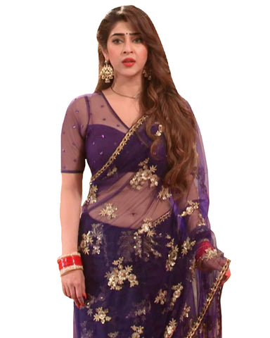 Purple Color Net Saree