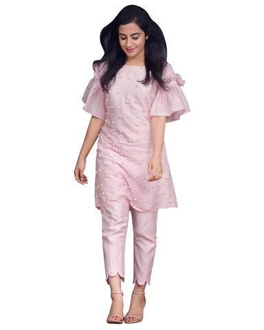 Light Pink Color Palazzo Suit