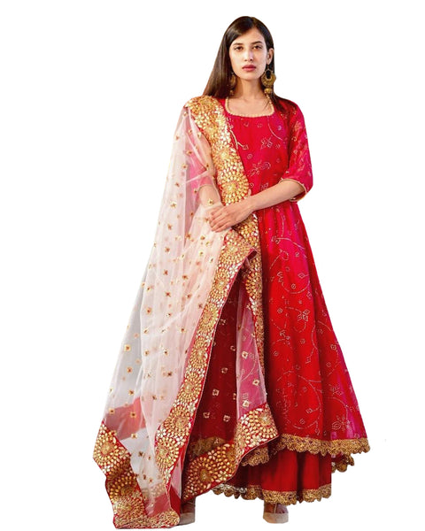 Red And White Georgette Net Dupatta Style Anarkali Palazzo Dress