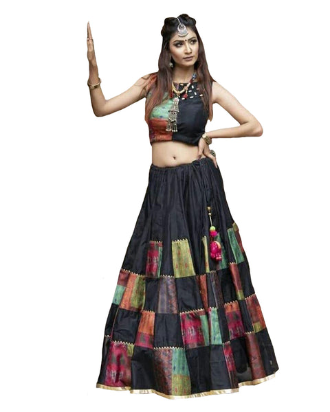 Eye-Catching Black Colored Festive Wear Woven Silk Check Lehenga Choli