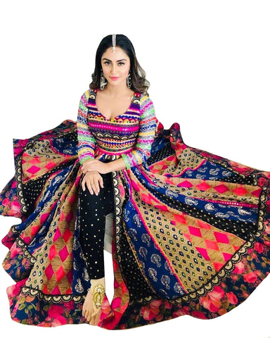 Black Satin Banglori Digital Print Style Anarkali Palazzo Dress