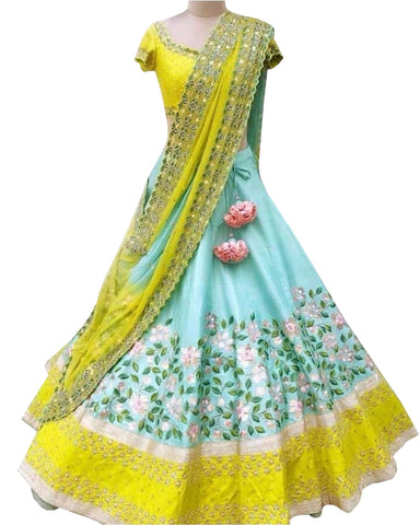 Yellow With Multi Color Designer Lehenga Choli