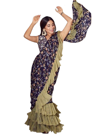 Blue Colour With Ruffle Printed Georgette Saree