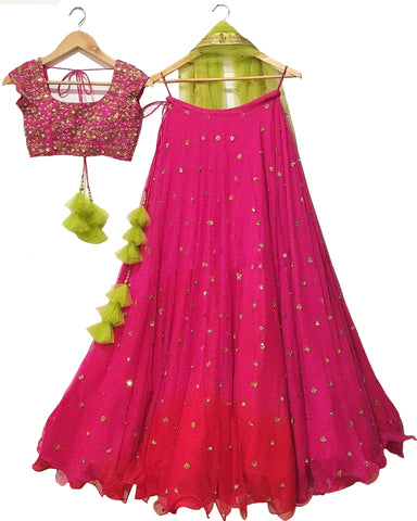 Pink And Green Color Wedding Lehenga