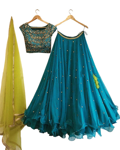 Blue And Green Color Wedding Lehenga