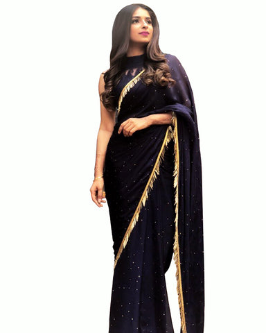 Exquisite Black Naylon Mono Net Work Saree