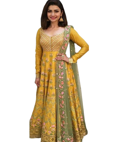 Yellow Bangalore Silk Anarkali Suit
