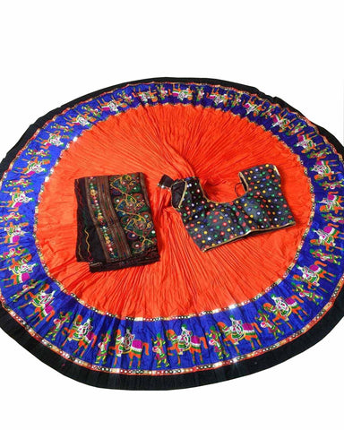 Navratri Special Orange Color Traditional Chaniya Choli
