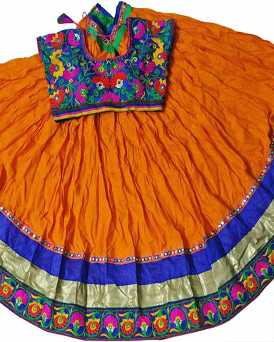 Navratri Special Orange & Blue Color Traditional Chaniya Choli