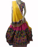 Pink & Orange Color Kutch Work Lehenga