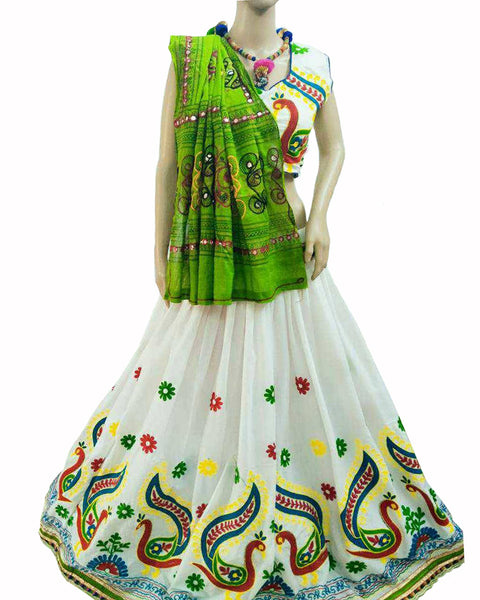 White Color Peacock Kutchi Border Lehenga