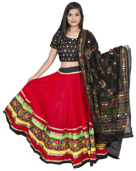 Navratri Special Black & Red Color Traditional Chaniya Choli