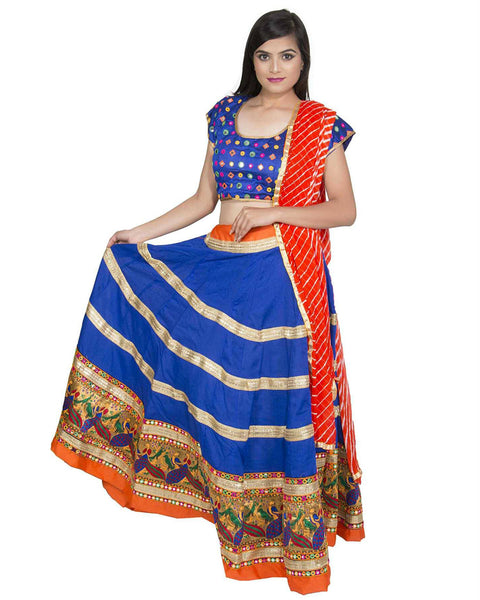 Navratri Special Blue & Orange Color Traditional Chaniya Choli