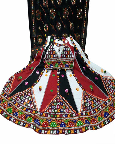 Navratri Special Black & White Color Traditional Chaniya Choli