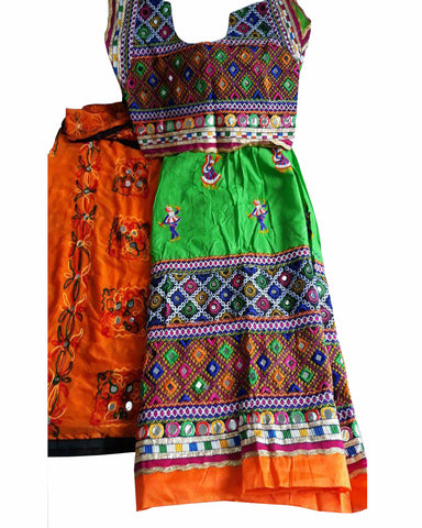 Navratri Special Green & Orange Color Traditional Chaniya Choli