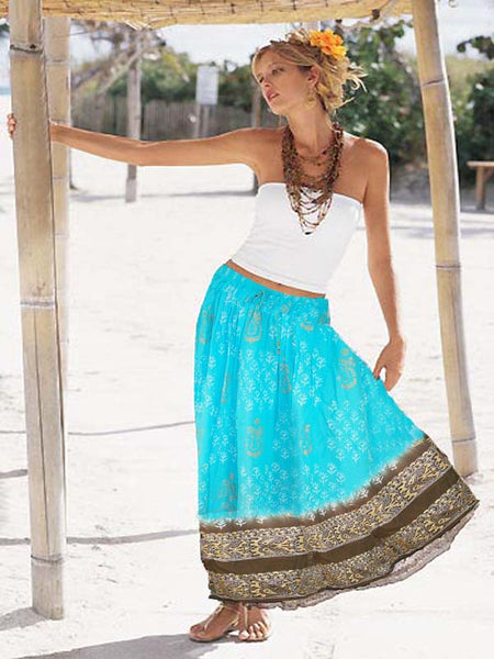 Blue & Brown Cotton Skirt