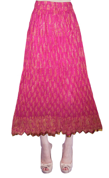 Magenta Color Crushed Cotton Skirt