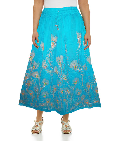 Light Blue Color Peacock Feather Cotton Skirt