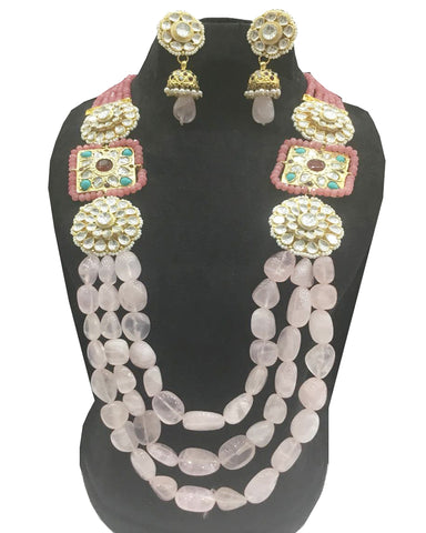 Party Wear Kundan Silver Tone Pink  Pearl Beaded Necklace with Earrings