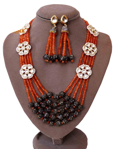 Party Wear Kundan Silver Tone Brown Pearl Beaded Necklace with Earrings