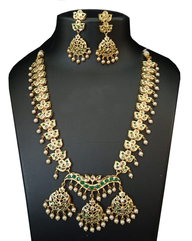 Party Wear Green And White Stone  Necklace with Earrings