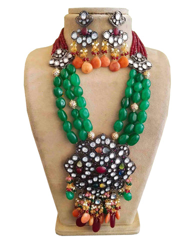 Party Wear Kundan Silver Tone Green And Red Pearl Beaded Necklace with Earrings